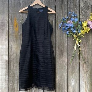 Ann Taylor Silk Embroidered Black Dress Size 8